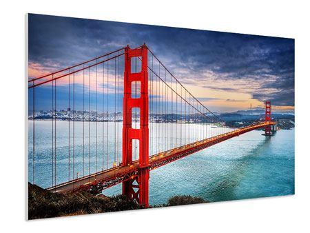 Hartschaumbild Der Golden Gate Bridge bei Sonnenuntergang