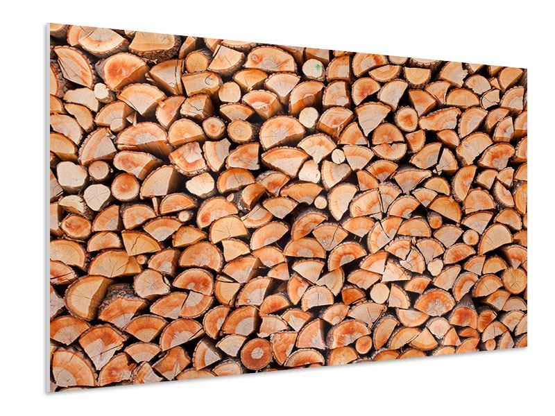 Hartschaumbild Birkenstapel
