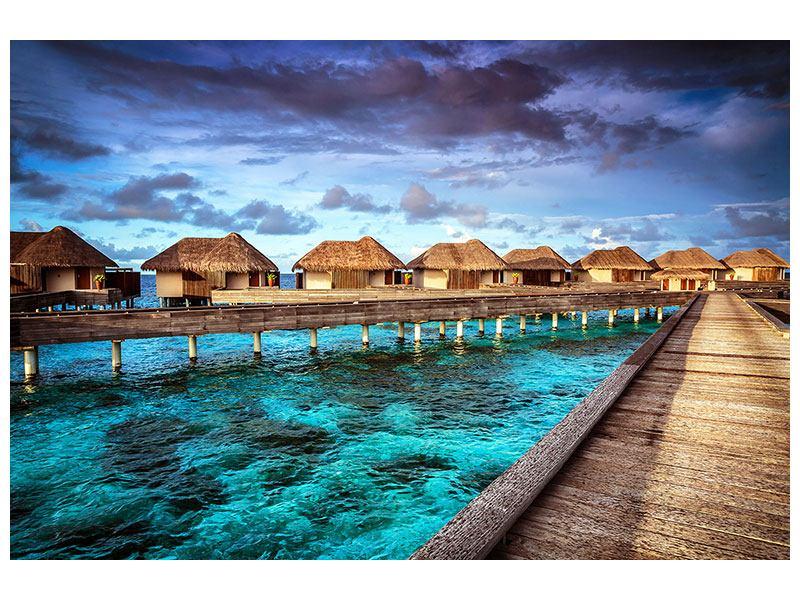 Hartschaumbild Traumhaus im Wasser