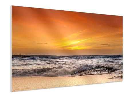 Hartschaumbild See mit Sonnenuntergang