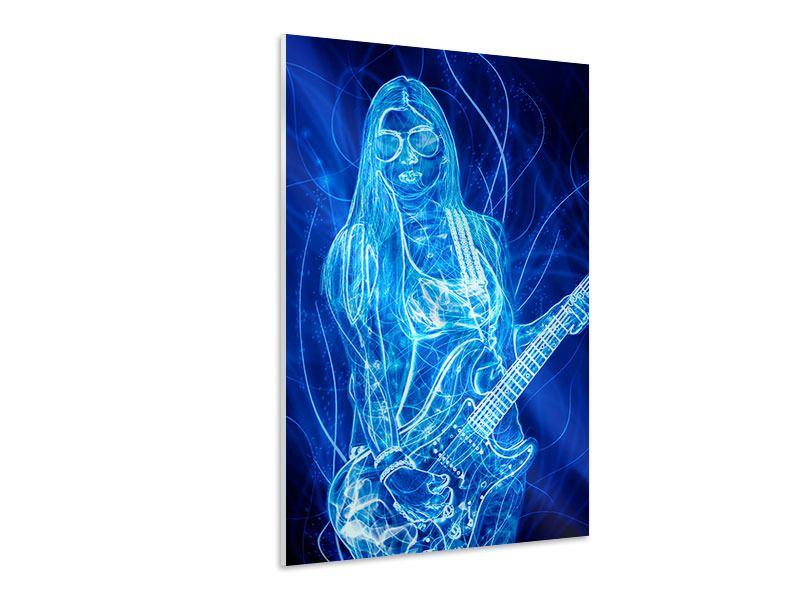 Hartschaumbild Leuchtende Gitarristin