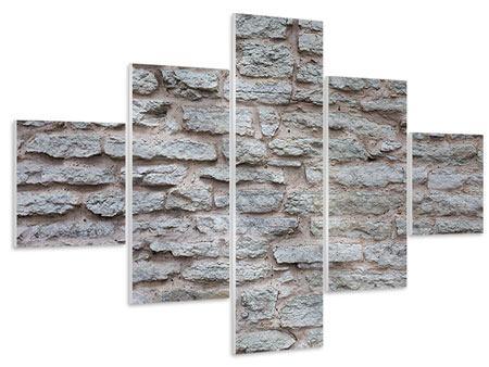 Hartschaumbild 5-teilig Steinmauer