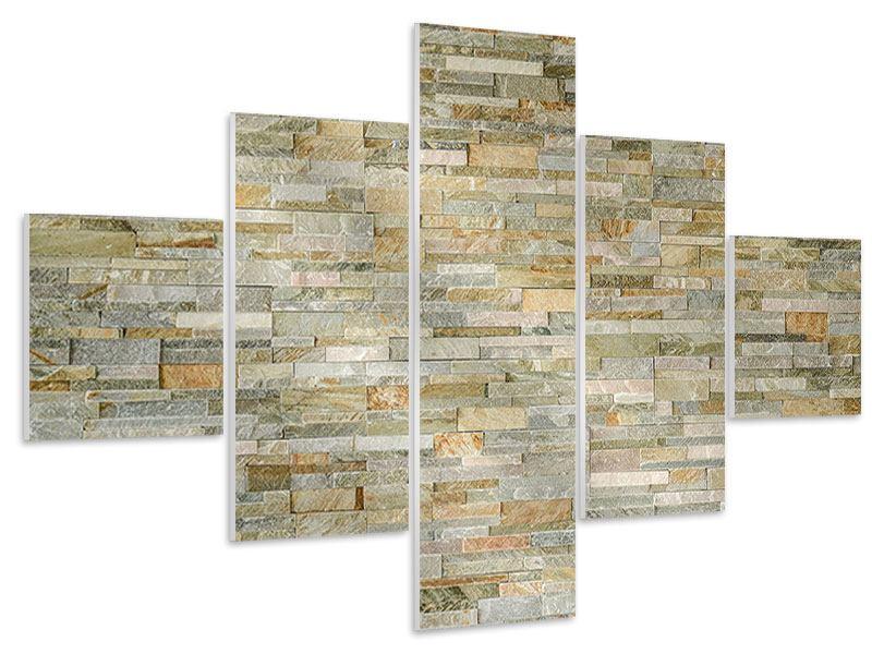 Hartschaumbild 5-teilig Edle Steinmauer