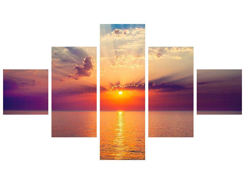 Hartschaumbild 5-teilig Mystischer Sonnenaufgang