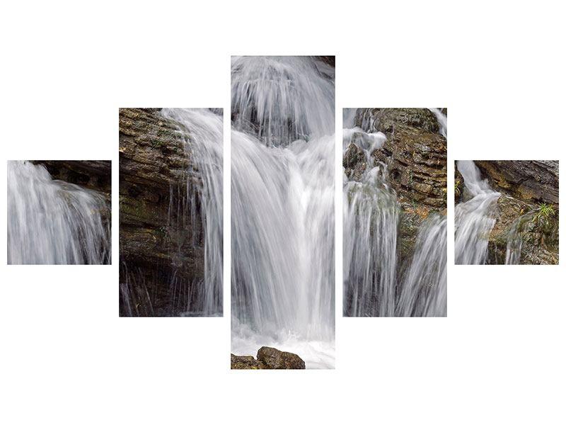 Hartschaumbild 5-teilig Wasserfall XXL
