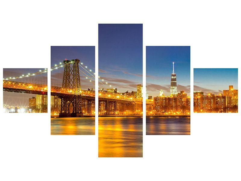 Hartschaumbild 5-teilig Skyline NY Williamsburg Bridge