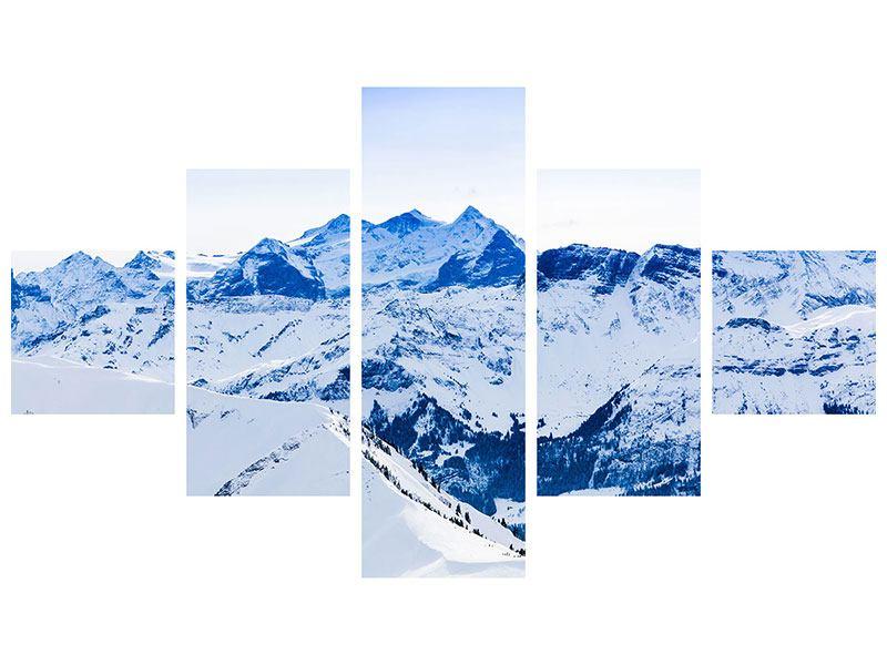 Hartschaumbild 5-teilig Die Schweizer Alpen