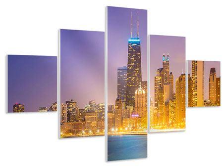 Hartschaumbild 5-teilig Skyline Chicago in der Nacht