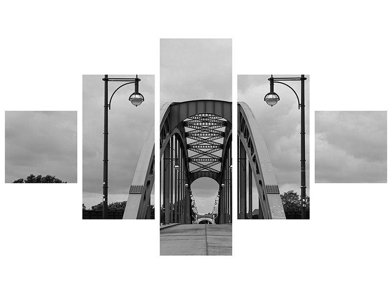 Hartschaumbild 5-teilig Poetische Brücke
