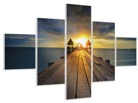 Hartschaumbild 5-teilig Der Sonnenuntergang bei der Holzbrücke