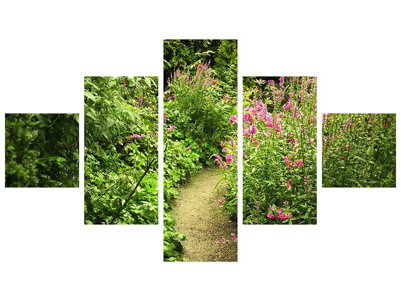 Hartschaumbild 5-teilig Gartenweg