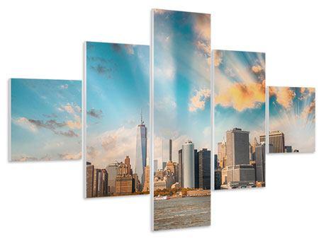 Hartschaumbild 5-teilig Skyline New York from the other Side