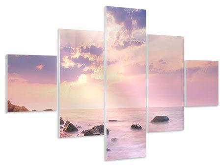 Hartschaumbild 5-teilig Sonnenaufgang am Meer