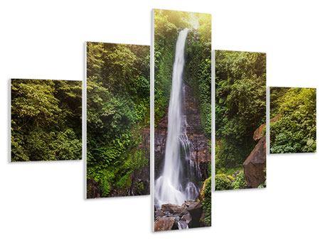 Hartschaumbild 5-teilig Wasserfall Bali