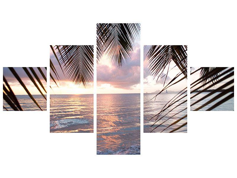 Hartschaumbild 5-teilig Unter Palmenblätter
