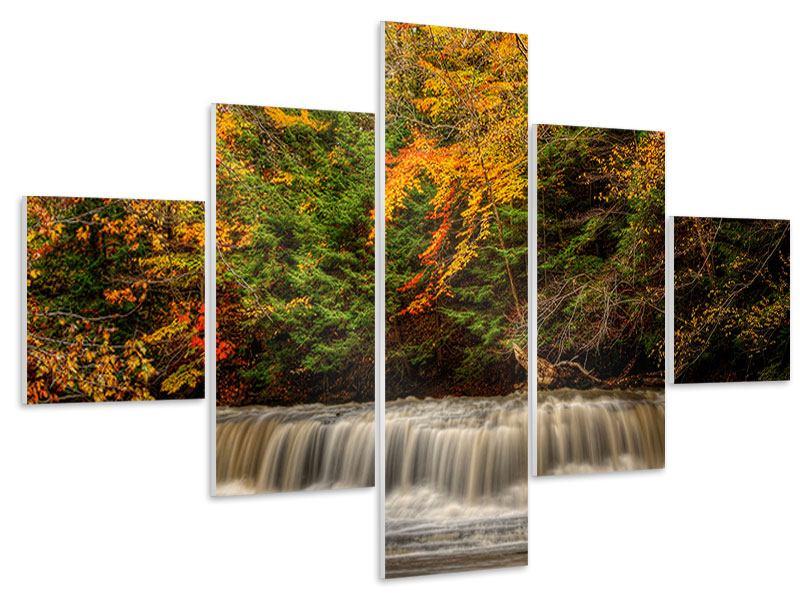 Hartschaumbild 5-teilig Herbst beim Wasserfall