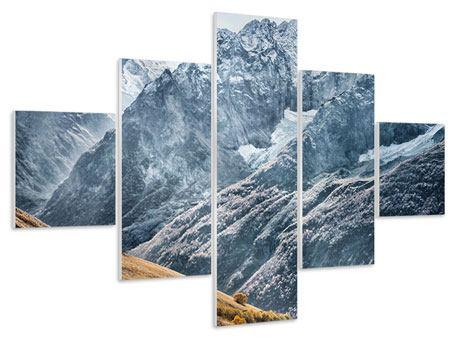 Hartschaumbild 5-teilig Gigantische Berggipfel