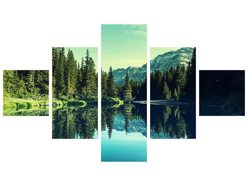 Hartschaumbild 5-teilig Die Musik der Stille in den Bergen