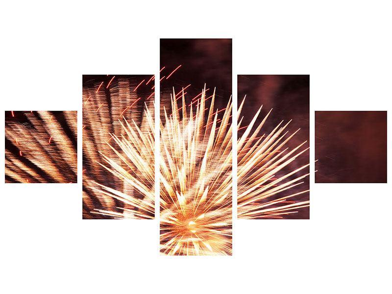 Hartschaumbild 5-teilig Close Up Feuerwerk