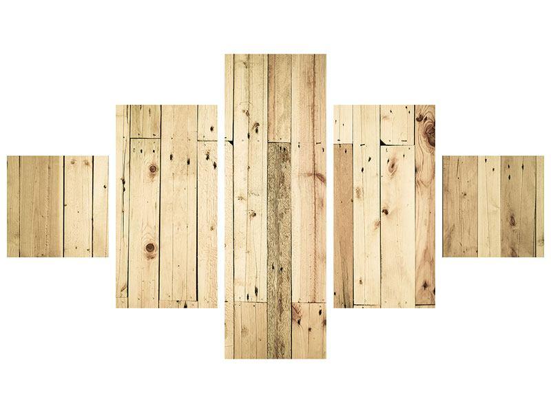 Hartschaumbild 5-teilig Holzpaneelen