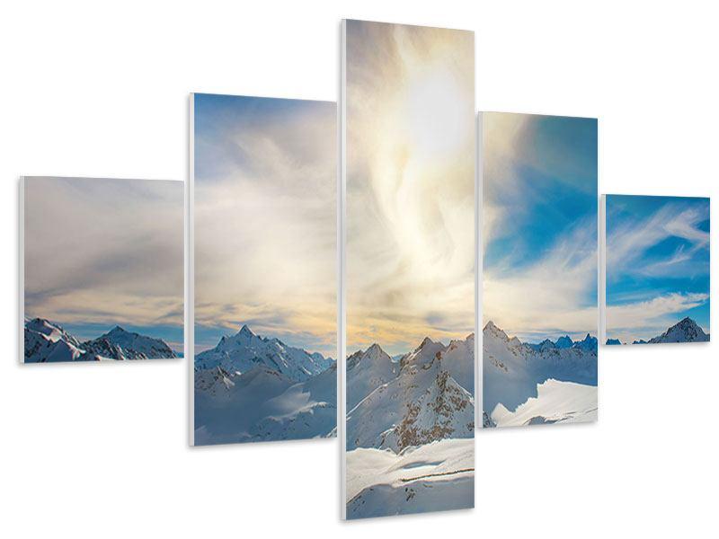 Hartschaumbild 5-teilig Über den verschneiten Gipfeln