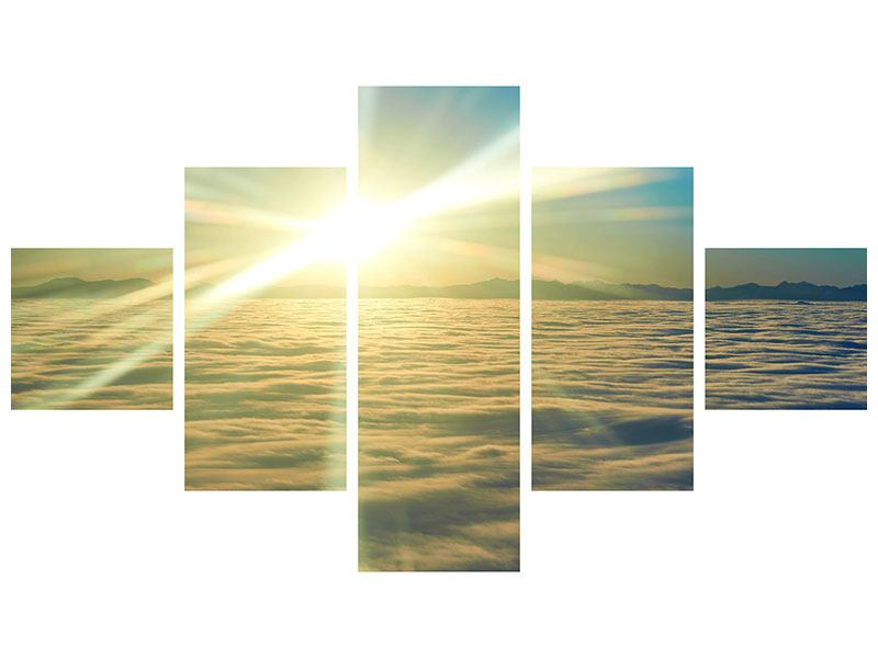 Hartschaumbild 5-teilig Sonnenaufgang über den Wolken