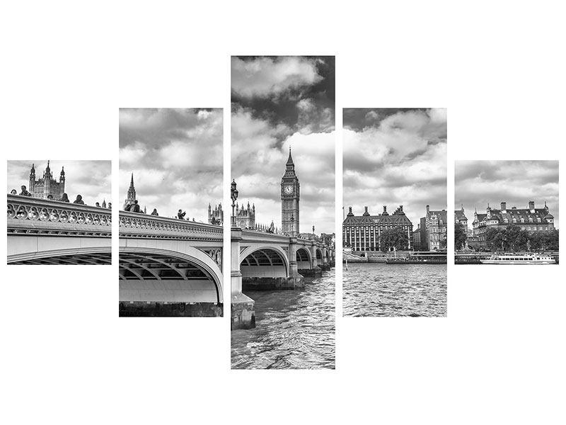 Hartschaumbild 5-teilig Westminster Bridge
