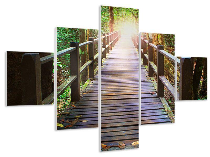 Hartschaumbild 5-teilig Die Brücke im Wald
