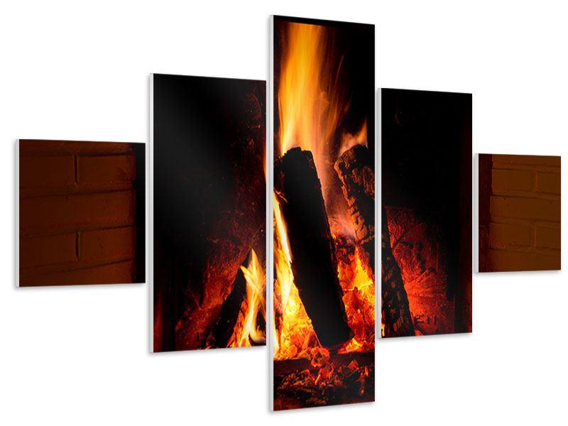 Hartschaumbild 5-teilig Feuer im Kamin