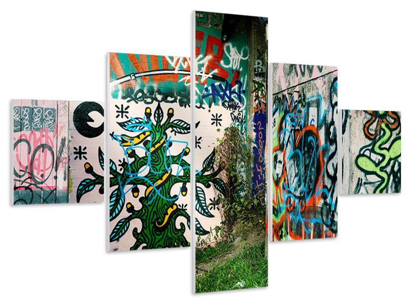 Hartschaumbild 5-teilig Graffiti im Hinterhof