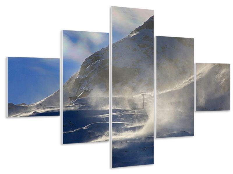 Hartschaumbild 5-teilig Mit Schneeverwehungen den Berg in Szene gesetzt