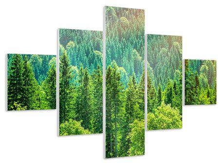 Hartschaumbild 5-teilig Der Waldhügel
