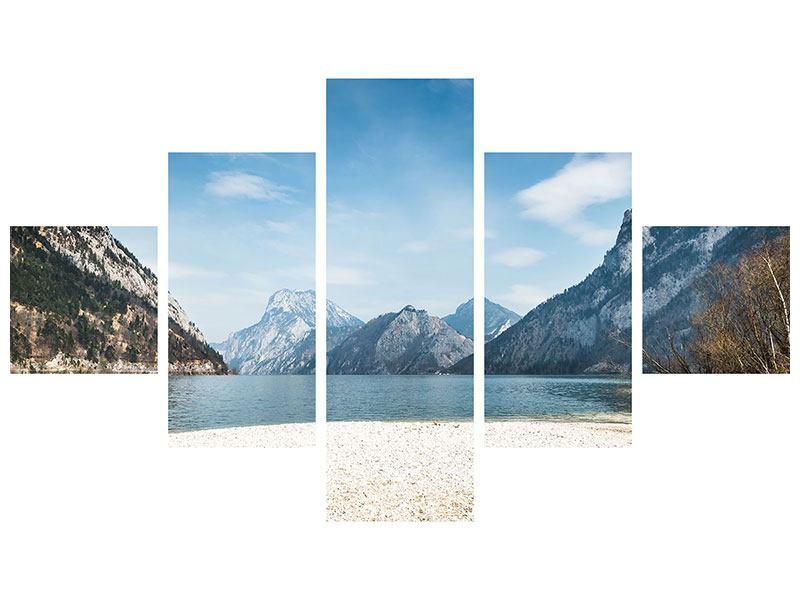 Hartschaumbild 5-teilig Der idyllische Bergsee