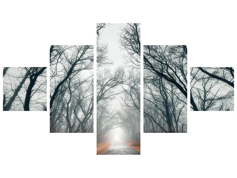Hartschaumbild 5-teilig Mysteriöse Stimmung im Wald