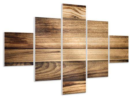Hartschaumbild 5-teilig Holztrend