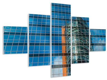 Hartschaumbild 5-teilig Wolkenkratzer-Spiegel
