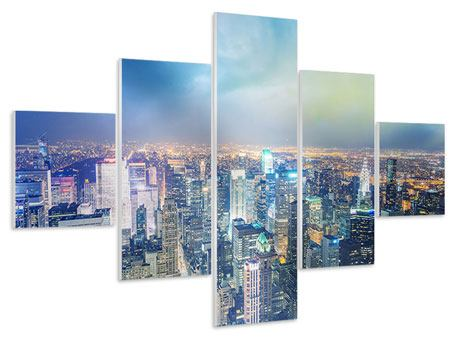 Hartschaumbild 5-teilig Skyline NY bei Sonnenuntergang