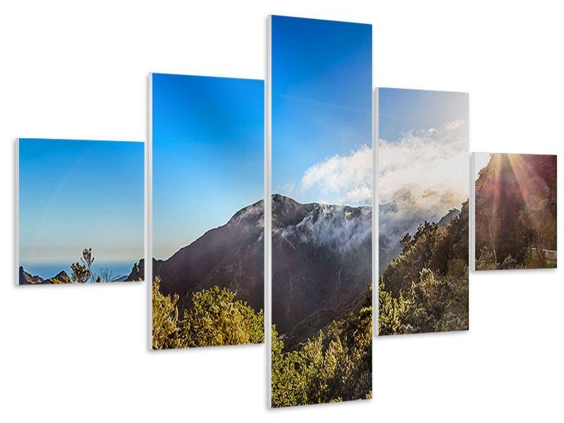 Hartschaumbild 5-teilig Berge am Meer