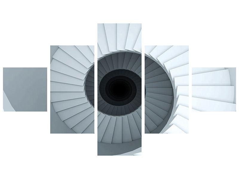 Hartschaumbild 5-teilig 3D Wendeltreppe