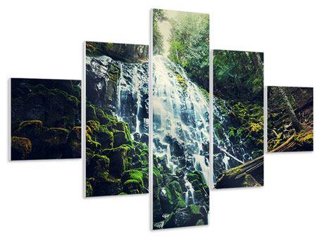 Hartschaumbild 5-teilig Feng Shui & Wasserfall