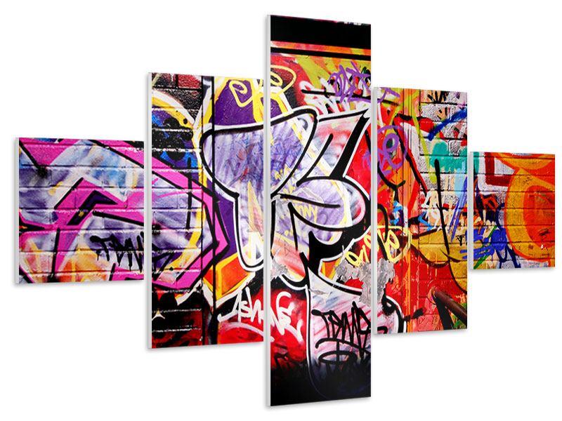 Hartschaumbild 5-teilig Graffiti Kunst