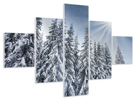 Hartschaumbild 5-teilig Wintertannen