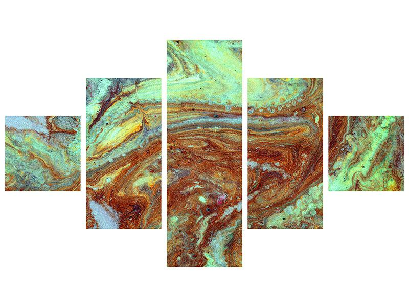 Hartschaumbild 5-teilig Marmor in Grün