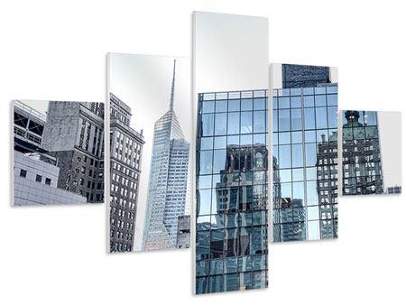 Hartschaumbild 5-teilig Wolkenkratzer NYC