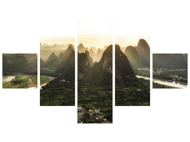 Hartschaumbild 5-teilig Die Berge von Xingping
