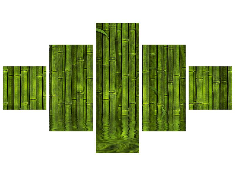 Hartschaumbild 5-teilig Wasserspiegelung Bambus
