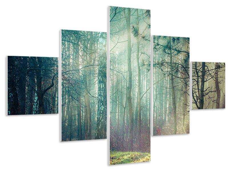 Hartschaumbild 5-teilig Pinienwald