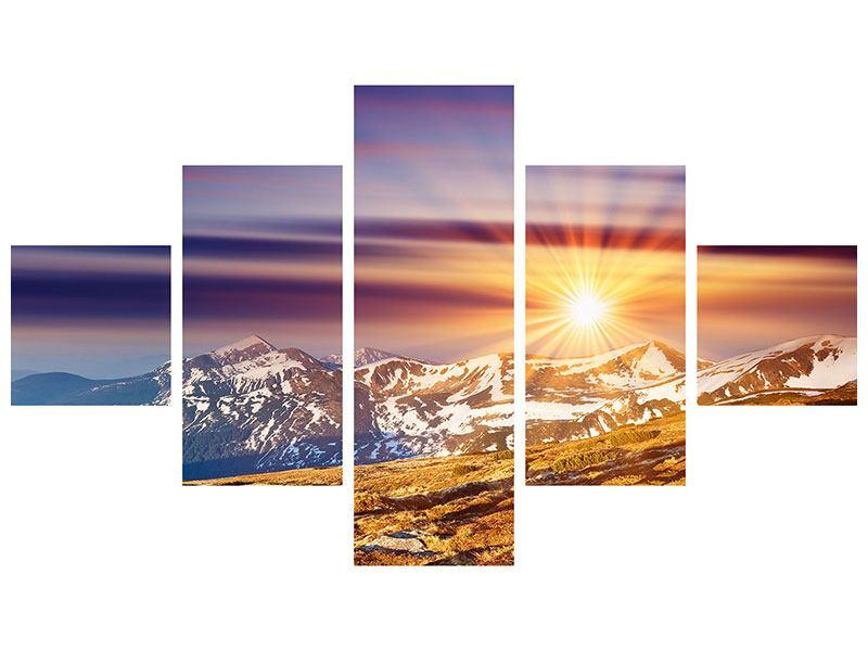 Hartschaumbild 5-teilig Majestätischer Sonnuntergang am Berggipfel