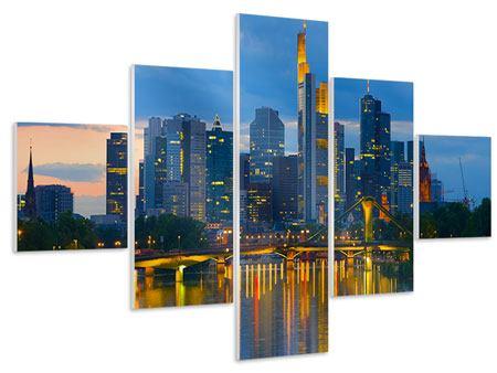 Hartschaumbild 5-teilig Skyline Frankfurt am Main