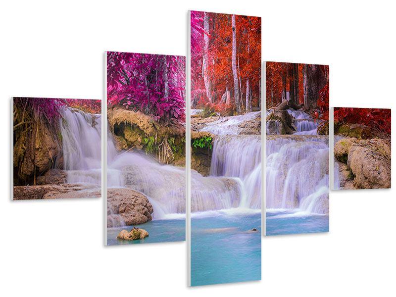Hartschaumbild 5-teilig Paradiesischer Wasserfall